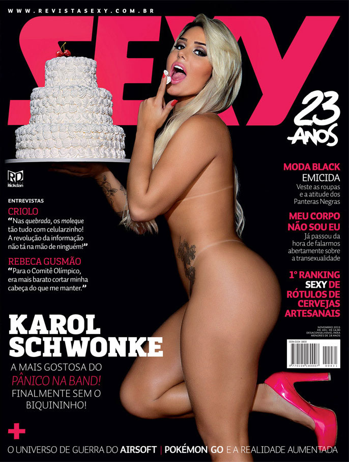 Karol Schwonke Panicat nua na Revista Sexy de Novembro 2015