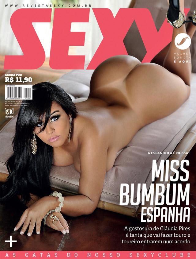 Miss Bumbum Espanha Claudia Pires nua Revista Sexy de julho de 2016