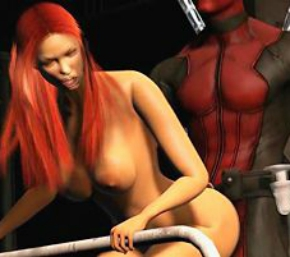 Deadpool fodendo o cu da ruivinha rabuda